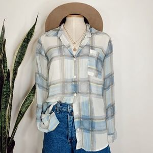 • SPLENDID X ANTHRO • plaid sheer button down top
